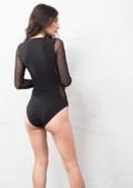 Studded Mesh Detail Bodysuit Black