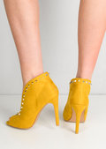 Studded Pointy V Front Faux Suede Stiletto Heeled Boots Mustard Yellow