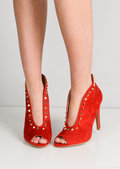 Studded Pointy V Front Faux Suede Stiletto Heeled Boots Red