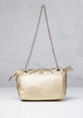 Studded Shoulder Bag with Silver Chain Gold