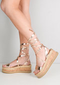 Lace Up Braided Cork Wedge Flat Espadrille Sandals Rose Gold