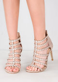 Studded Strappy Faux Suede Stiletto Heels Pink