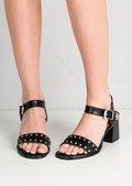 Studded Western Style Strappy Block Heel Sandals Black