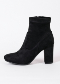 60s Style Suede Ankle Sock Block Heel Boots Black
