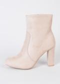 Zip Suede Block Heel Ankle Boots Nude
