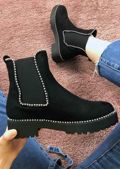 Suede Cleated Chunky Studded Chelsea Ankle Boots Black
