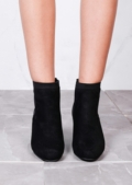 Suede Heeled Ankle Boots with Elasticated Sides Black