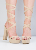Suede Open Toe Lace Up Platform Sandals Beige