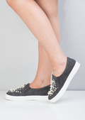Suede Pearl Embellished Slip On Trainers Grey