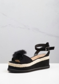 Suede Pom Pom Braided Cork Wedge Flat Espadrille Sandals Black