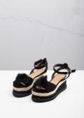 Suede Pom Pom Braided Cork Wedge Flat Espadrille Sandals Black