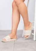 Summer Studded Flat Sliders Slippers Beige