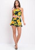 Sunflower Floral Tie Back Co Ord Black