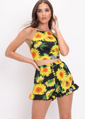 Sunflower Floral Tie Back Co Ord Black