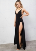 Super Thigh High Splits Maxi Dress With Bodysuit Black