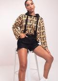 Symbol Printed Knitted Long Sleeves Cropped Hoodie Jumper Top Beige
