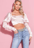 Satin Puff Sleeve Button Front Ruched Crop Top Pink