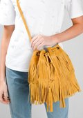 Boho Tassel Fringe Suede Drawstring Bucket Bag Mustard Yellow