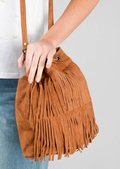 Boho Tassel Fringe Suede Drawstring Bucket Bag Tan Brown