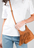 Tassel Fringe Suede Cross Body Boho Festival Bag Tan Brown