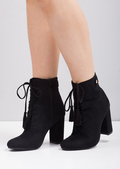 Tassel Lace Up Ankle Boot Black