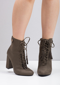 Tassel Lace Up Ankle Boots Khaki Green