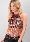 Tassel Sequin Embellished Halterneck Crop Top Multi