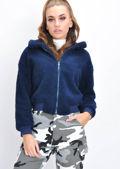 Teddy Faux Fur Borg Bomber Jacket Navy Blue