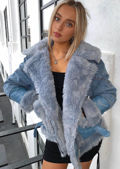 Teddy Borg Faux Leather Cuff Fleece Denim Biker Jacket Coat Blue