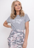 The Future Is Female Slogan T-Shirt Grey