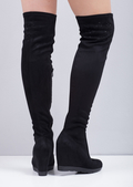 Thigh High Faux Suede Diamante Wedge Platform Boots Black
