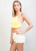 Tie Back Cami Crop Top Bright Yellow