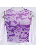 Tie Dye Ribbed Tank Crop Top Purple