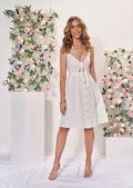 Tie Front Button Through Casual Midi Dress White