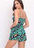 Tie Front Leopard Print Strappy Playsuit Green
