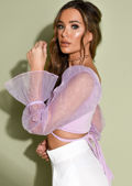 Tie Front Sheer Puff Sleeve Crop Top Purple