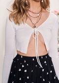 Tie Up Ribbed Cropped Cardigan Top White