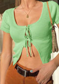Tie Up Ribbed Cropped Short Sleeve Cardigan Top Green