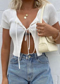 Tie Up Ribbed Cropped Short Sleeve Cardigan Top White