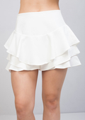 Tiered Floaty Frill Mini Skort White