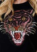 Tiger Sequin Embellished Crop Top Black