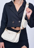 Trio Chain Quilted Crinkle Cross Body Bag Beige