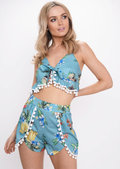 Tropical Print Pom Pom Co ord Set Green