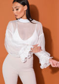 High Neck Tulle Frill Sleeve Sheer Shirt White
