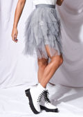 Tulle High Waisted Tiered Mini Skirt Grey