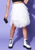 Tulle High Waisted Tiered Mini Skirt White