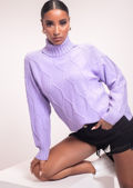 Turtle Neck Oversized Cabel Knitted Jumper Purple