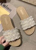 Tweed Braided Pearl Sliders White