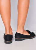Twist Front Faux Suede Loafer Flats Black