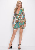 Twist Front Scarf Print Mini Dress Green